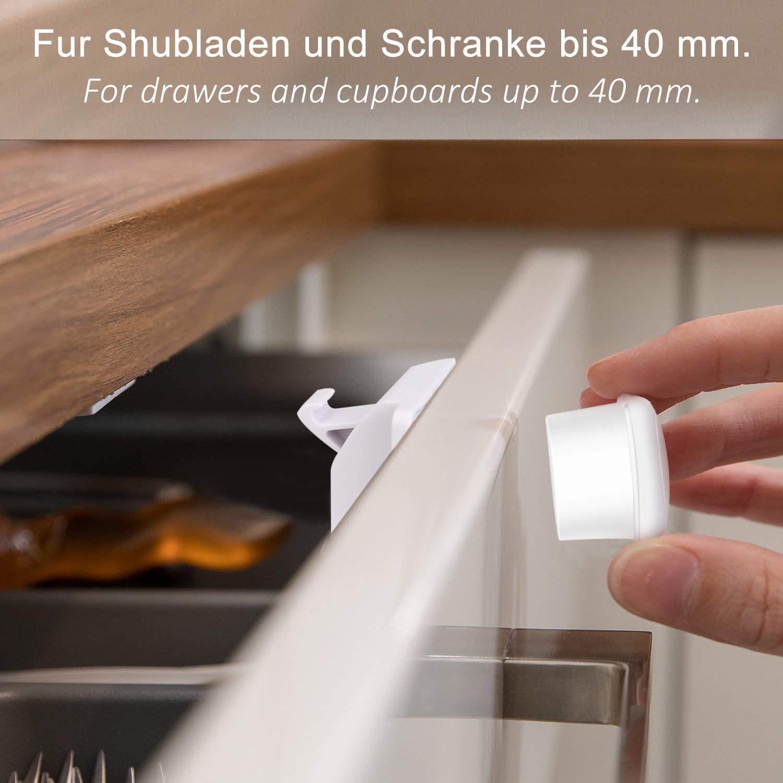 Telgoner Kindersicherung Schrank Magnet 12 Schlösser Mit 3 Schlüssel Schranksicherung Baby Für Schranktür Und Schubladen Unsichtbare