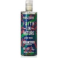 Faith in Nature Natural Aloe Vera Body Wash, Rejuvenating, Vegan and Cruelty Free, Parabens and SLS Free, 400ml