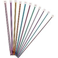 Lot de 11 aiguilles à crochet tunisien/afghan en aluminium, multicolores, 2 à 8 mm.