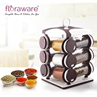 Floraware 12-Jar Revolving Spice Rack, Masala Box, Spice Box, Masala Rack, Trolley Rack (Dark Brown)