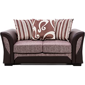 Tuff Concepts Farrow Shanon Leather Chenille Fabric Corner Sofa Set Living  Room (2 Seater+