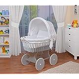 WALDIN Baby Stubenwagen-Set mit Ausstattung,XXL,Bollerwagen,komplett,26 Modelle wählbar,Gestell/Räder grau lackiert,Stoffe weiß