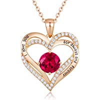 CDE Forever Love Heart Necklaces Jewellery for Women 925 Sterling Silver White/Rose Gold Plated September Birthstone Pendant Necklace Anniversary/Birthday Gifts for Her/Mum/Wife