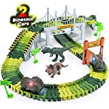 Snaptron Dinosaur Toy 156 Pcs Train Toys for Kids with Track 2 Toy Cars & 2 Toys for Kids Jurassic World