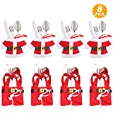 Aitsite 8 Piezas Navidad Cocina Cubiertos Cuchillo Tenedor Cuchara Papá Noel Muñeco Nieve Alce Cuchillo Porta Bolsas Decoraci