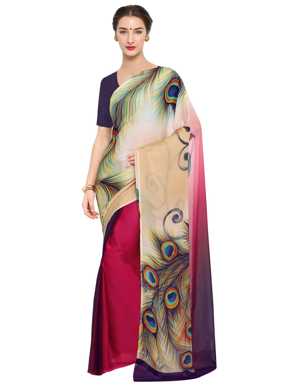 Kanchnar Women's Chiffon Georgette Off-white and Maroon Printed Saree