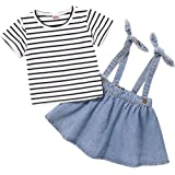Haokaini ropa de verano para niña pequeña ropa a rayas + falda de tirantes