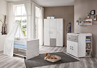 Babyzimmer Komplett Set In Grau Weiß, Kinderzimmer In Sand Eiche 4 Teilig