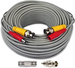 MBro All-In-One BNC Video And Power Cable Wire Cord With Connector For CCTV Security Camera (60 Ft) With RCA Connector And Female To Female