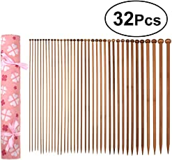 SUPVOX 32PCS Wooden Crochet Hooks Bearded Needles Weaving Tools for Handmade Creative DIY (Pink)