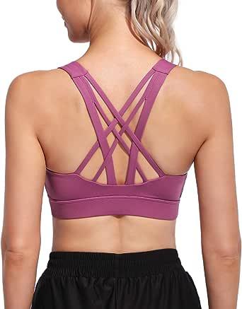 G4Free Sport-BHS für Damen Wirefree Padded Medium Support Yoga Damen Sport Tanktop Laufen Longline Camisole Crop Top Workout Shirts