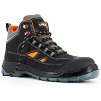 Foxter - Chaussures de sécurité | Hommes | Montantes | Légères | Imperméable | sans métal | Cuir Noir | S3 SRC
