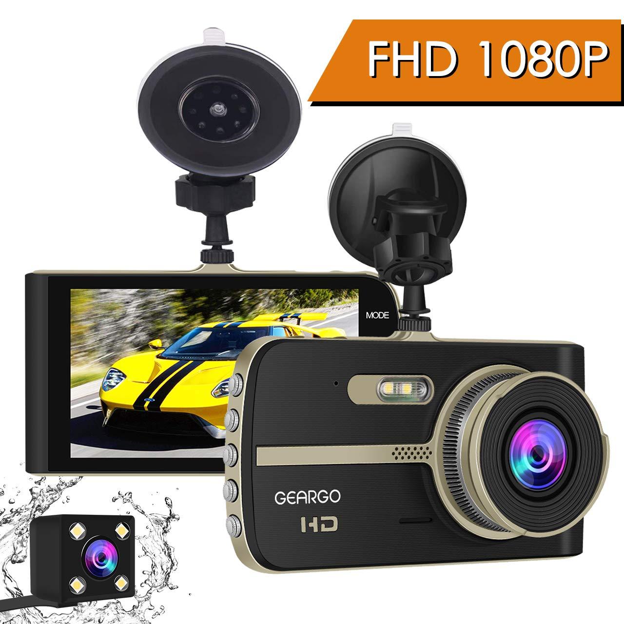 Cámara de Coche, GEARGO Dashcam Full HD 1080P Dual Lens Cámara para Coche G-Sensor Detección de Movimiento Grabación en Bucle con Visión Noctura WDR 4″LCD Pantalla