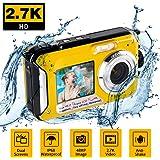 Macchina Fotografica Subacquea per Snorkeling Fotocamera Subacquea Digitale 2.7K 48MP con Doppio Schermo per Selfie Fotocamera Impermeabile per Nuoto e Campeggio