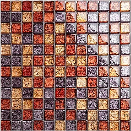 Goldfolie Glas Mosaik Fliesen, strahlende Wohnkultur Fliesen, wasserdichte moderne Küche Backsplash Fliesen, Mesh elegante Wandmosaik montiert. Kostenloser Versand, LSJB03 (11 Stücke/pack) -