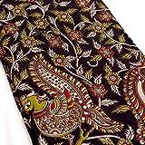 #6: Shopolics 2.5 Meter Black and Olive Green Red White Peacock Pattern Kalamkari Cotton Fabric