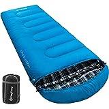 KingCamp Oasis Flanell Deckenschlafsäcke mit Kopfteil für Erwachsenen 3 Jahreszeiten Koppelbar, 220 × 80 cm