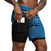 Danfiki Mens Running Short Gym 2 in 1 Sports Shorts Workout Shorts with Phone Pocket for Sportswear Exercise
