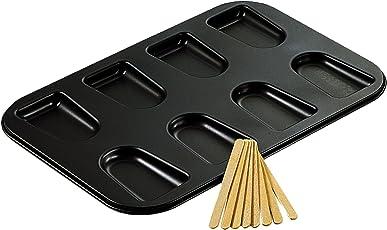 Zenker Backblech für Kucheneis am Stiel, Backform mit 25 Holzstäbchen für Snacks, Backblech mit Antihaftbeschichtung für kleine Kuchen, kreatives Backen (Farbe: schwarz), Menge: 1 Stück