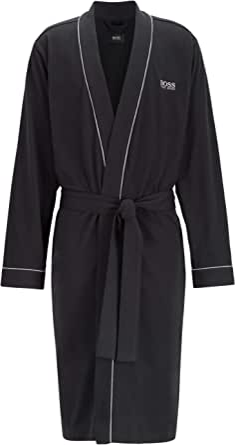 BOSS Mens Kimono BM Kimono-Style Dressing Gown in Brushed Cotton with Logo