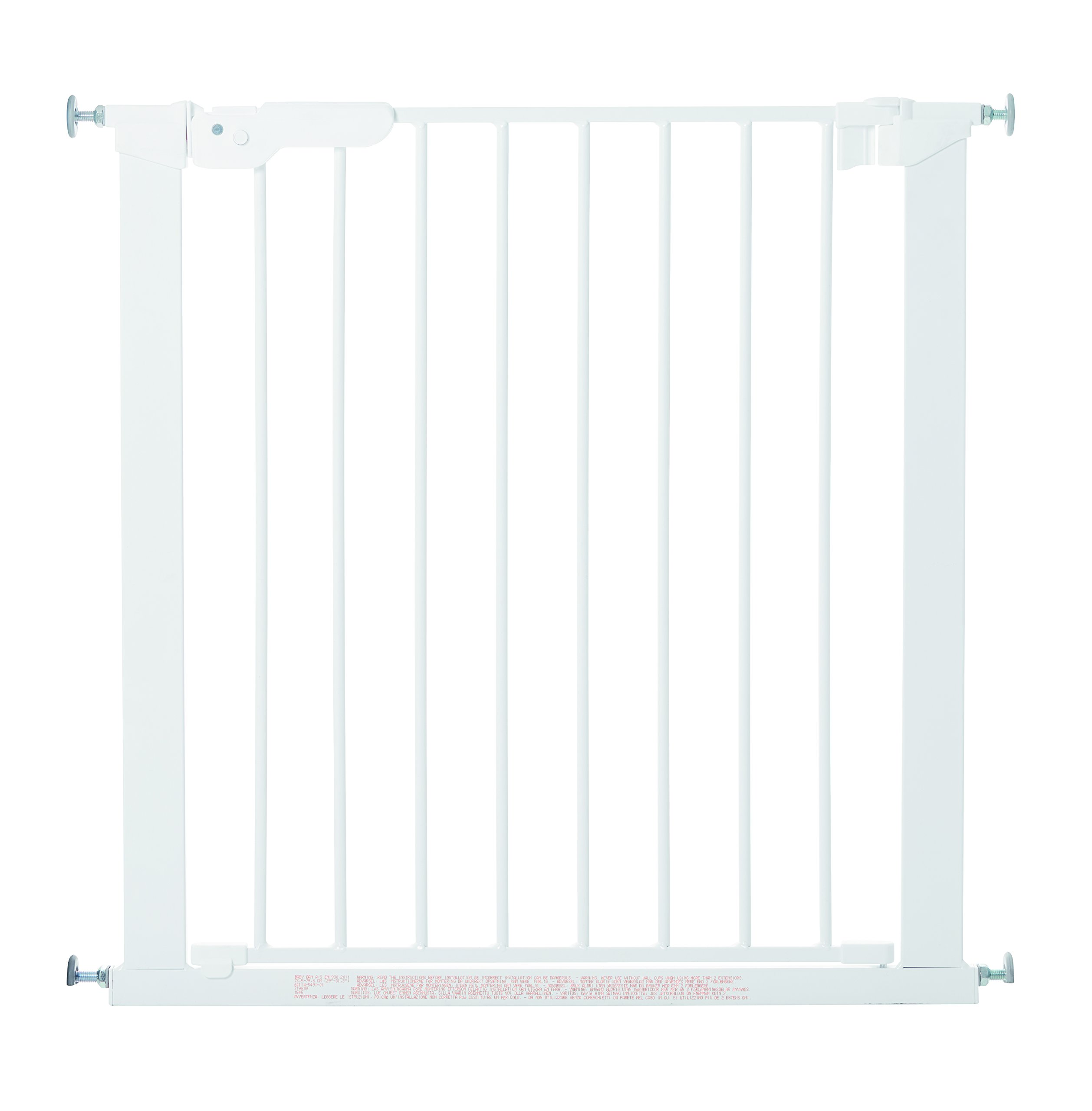"BabyDan Premier True Pressure Fit Safety Gate (White), Fits Openings from 73.5 cm - 79.6 cm (29""-31.3"")  Fits openings from 73.5 to 79.6 cm wide; 73 cm in height Can be extended up to 119.3 cm with additional extensions (sold separately). The gate can take up to 6 extensions so can take up to 119.3cm. Pressure technology means the gate can be fitted without wall cups 1"