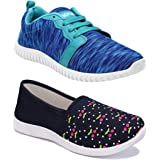Shoefly Women Combo Pack of 2 Multicolour Latest Collection Loafers Sneakers Shoes (Combo-(2)-1162-1451)