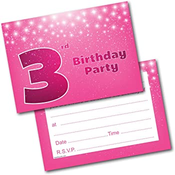 Doodlecards 3rd Birthday Party Invitations Girl Invites Pack Of 20 Postcards And Envelopes