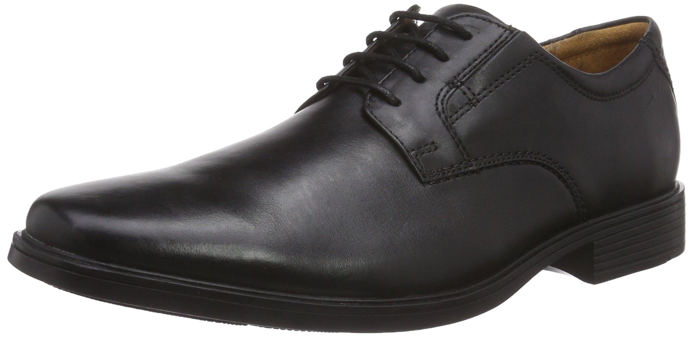 Clarks Tilden Plain - Zapatos con Cordones de Cuero Hombre, Color Negro, Talla 43