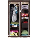 FOLDDON Non Woven Foldable Storage Double Door Design Wardrobe, Cupboard Closet with 6 Racks, 99.1 x 44.4 x 165.1cm (Beige an