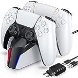 ECHTPower Chargeur Manette PS5, Station de Chargement avec Adaptateur Compatible avec Manettes DualSense Playstation 5, Suppo