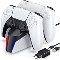 ECHTPower Chargeur Manette PS5, Station de Chargement avec Adaptateur Compatible avec Manettes DualSense Playstation 5…