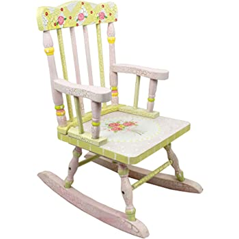 Fantasy Fields Crackled Rose Themed Kids Wooden Rocking Chair