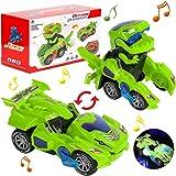 Dinosaurie transformers-bil, dinosaurie-billeksak, transformerande ljus och musik, presenter till unga dinosaurier leksaker f