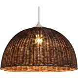 Lampa wisząca Jacinthe 1/2 kula ratan 60 watów brązowy ø 30 x wys. 16 cm