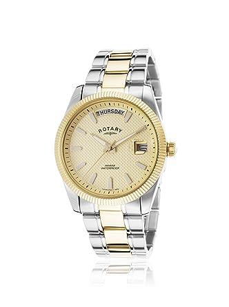 rotary men s quartz watch gold dial analogue display and two rotary men s quartz watch gold dial analogue display and two tone gold plated bracelet gb02661
