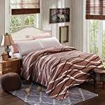 Brown Waves Printed Flannel Blanket King Size Double Size Coral Blanket Throw Blanket