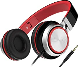 Headset, Honstek Faltbarer und Leichter on-Ear Kopfhörer, Stereo Kabelgebundenes Komfortables Headset für iPhone iPad Android Handys Computer Tablets MP3/MP4 (Black/Red)