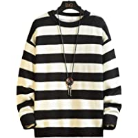 USTZFTBCL Oversized Men Sweater Winter Thick Warm Mens Pullover Sweaters Male Striped Knit Jumper