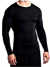 Men's Lite Compression T-shirt Top (Nylon) Skins For Running, Cycling, Cricket, Basketball, Yoga, Football, Tennis, Badminton Fitness,Gym,Yoga,Sports,Outdoor Tights Lycra Skin Top Inner Wear Full Sleeves plain Skin T-Shirt Dryfit Base Layer For Sports Black Color