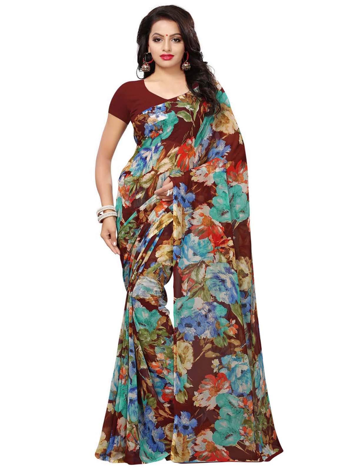 Kanchnar Women's Brown Georgette Printed Saree782S212