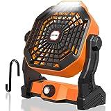 LOFTer Mini Ventilatore Portatile a Batteria Ricaricabile 5200mAh USB Ventilatore da Tavolo con Lampada Led Ventilatore…