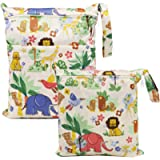 ViVidLife Wet Bag, 2 PCS Wet Dry Bags for Cloth Diapers Nappy Daycare Organiser Storage Bags, Waterproof Washable…