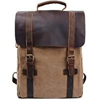 S-ZONE Unisex Vintage 15.6 Laptop Backpack Canvas Genuine Leather Business Travel College School Bag Rucksack Casual…