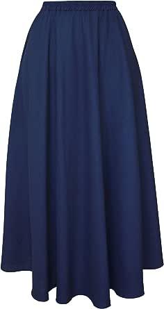 Donna Gonna Lino Maxi Lunga Elegante Elasticizzata Solida Colore con Tasche Linea ad A Orlo Largo