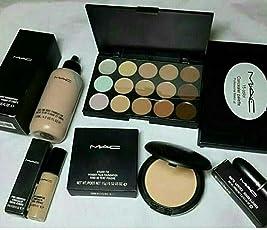 M.A.C Combo of Premium Foundation Concealer Contour Pallete Compact and Lipstick
