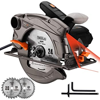 TACKLIFE 1500W, 4700rpm, Klassische Handkreissäge mit Laser, 2 Klingen (24T / 40T), Schnitttiefe/Winkel: 45mm (45°) - 63mm (90°) - PES01A