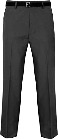 Mens Trousers Formal Casual Business Office Work Home Smart Dress Straight Leg Flat Front Everpress Pockets Pants Plus Big King Sizes 30-50