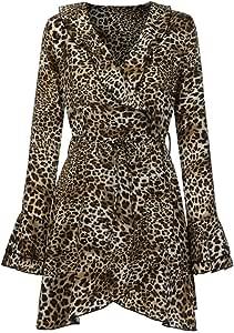 Mini Abito da Cocktail con Maniche E Stampa Floreale Bowknot delle Donne Vestito da Festa Casual Lunga da Donna Sexy Camicetta Casual Vestito Elegante