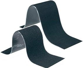Fastech Set Selbstklebendes Klettband Schwarz, Flauschteil und Haftteil super stark zum Befestigen und Fixieren auch ALS Kennzeichenhalter, Werkzeughalter 10,7 x 50cm
