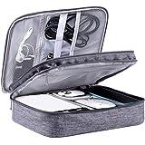 LIVACASA Kabelorganiserare väska resa dubbla lager pryl resväska elektronik tillbehör kabel förvaring bärorganiserare fodral